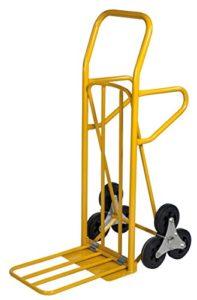 Profi Sackkarre Treppensteiger ♥ Die Ladefläche bietet mit  ca. 425 x 150 mm (eingeklappt) und ca. 350 x 500 mm (ausgeklappt) genügen Platz für verschiedenste Güter. Der Sackwagen hat eine Tragkraft von 200 kg, bei einem Eigengewicht von 18,5 kg.  ♥ mit Vollgummi-Reifen