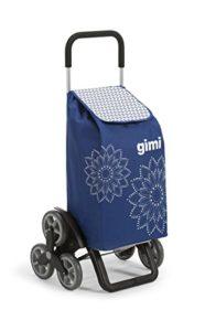 Gimi Tris Floral Einkaufstrolley, blau ♥ Großzügige und robuste Tasche aus Polyester mit Kordelzugverschluss und Druckknopfleiste auf der Vorderseite ♥ 3+3 Rad-System