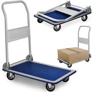 Plattformwagen klappbar--DEUBA Plattformwagen klappbar ♥ bis 150 kg  ♥ Antirutsch Beschichtung ♥ Metall, pulverbeschichtet  ♥ Weiß ♥ Blau